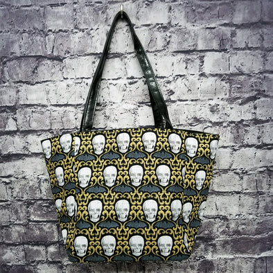 Top Notch Tote- Skull Bat & Scrolls