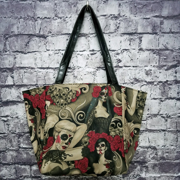 Top Notch Tote- Vintage Sugar Skull Pinup (Veil)