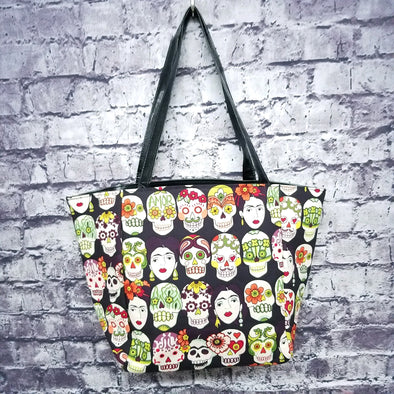 Top Notch Tote- Frida Kahlo Skulls