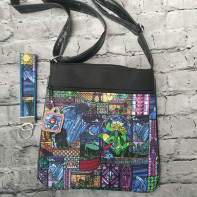 Crossbody & Zipper Pull & Key Fob- Beauty & the Beast Stainglass