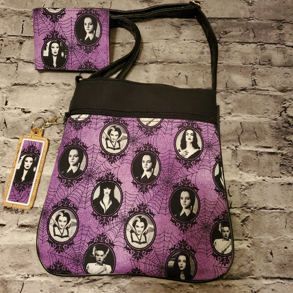 Crossbody & LipBalm Holder & NJFM- Violet Horror Cameos (Morticia)