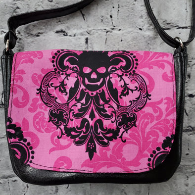 Crossroads Crossbody Bag- Pink Skull Demask