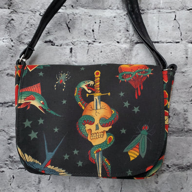 Crossroads Crossbody Bag- Sailor Tattoo (Dagger)