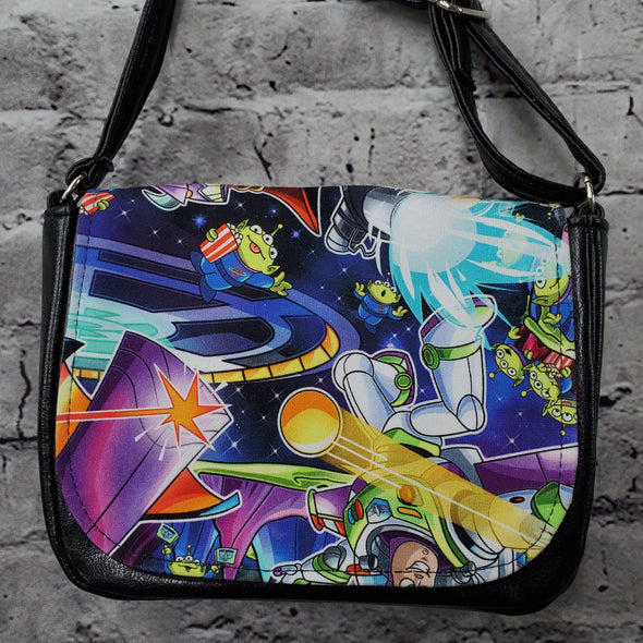 Crossroads Crossbody Bag- Pizza Planet Aliens