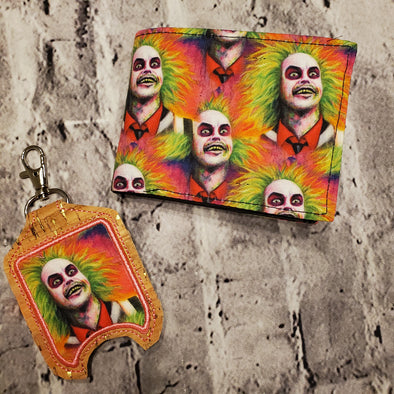 NJFM Wallet & Hand Sanitizer Holder- Neon Beetlejuice