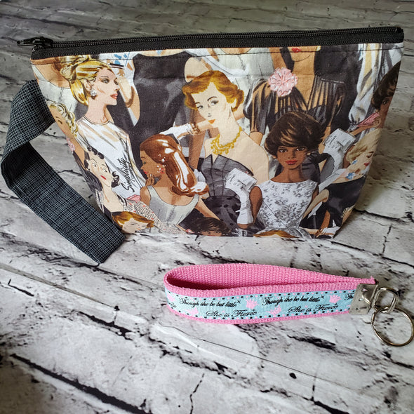 Large Wristlet & Keyfob- She is Fierce (Simplicity Vintage)