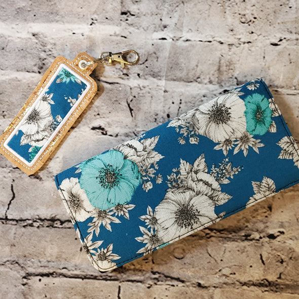 Wallet & Lipbalm Holder- Blue Poppies