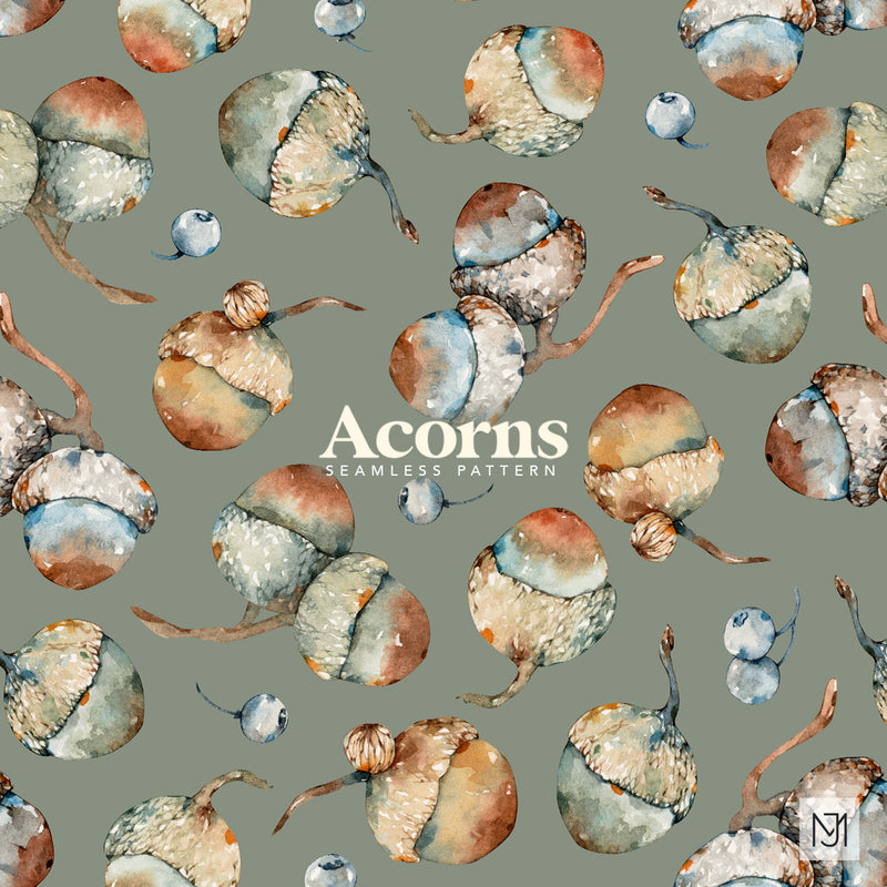 Autumn Acorns Seamless Pattern - 066