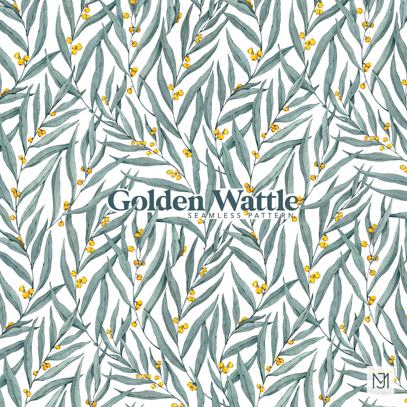 Golden Wattle Leaves Seamless Pattern - 061