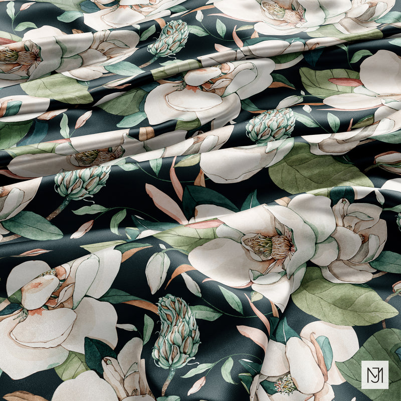 White Magnolia Seamless Pattern - 063