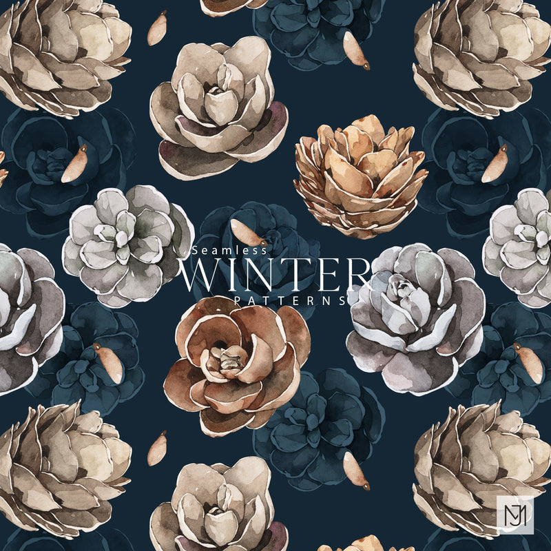 Winter Pine Cones Seamless Pattern - 044