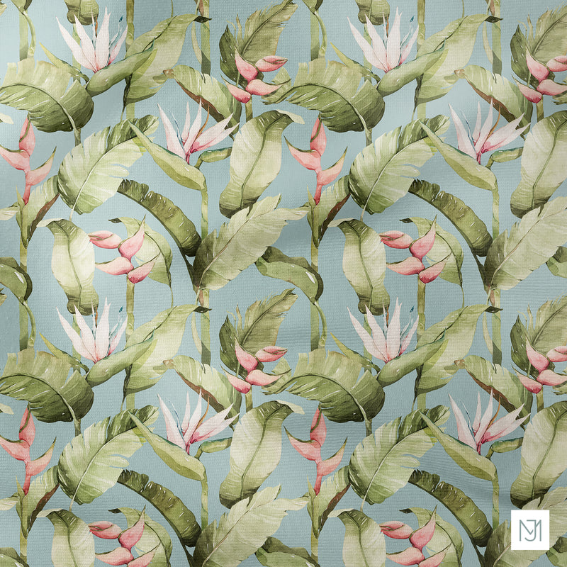 Tropical birds of paradise Flower Seamless Pattern - 033