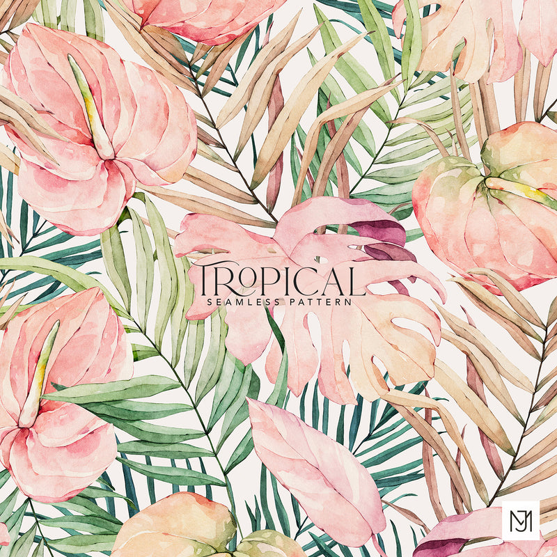 Tropical Flowers Seamless Pattern - 050