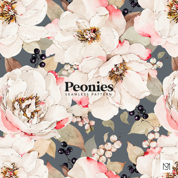 White Peonies Seamless Pattern - 067