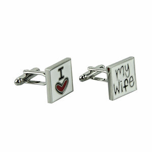 I LOVE MY WIFE printing Cufflinks Metal cuff links for Men