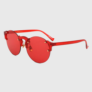 Pink Clear Vintage Round Sun Glasses For Women