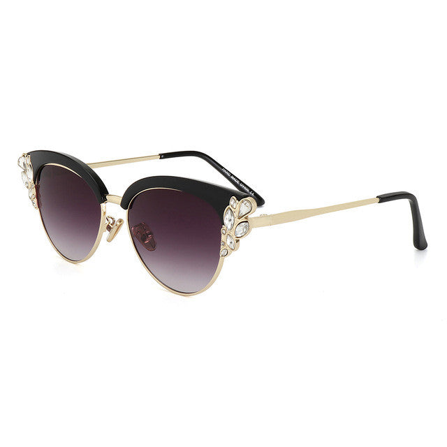 Half Frame Crystal Diamond Sun Glasses For Women