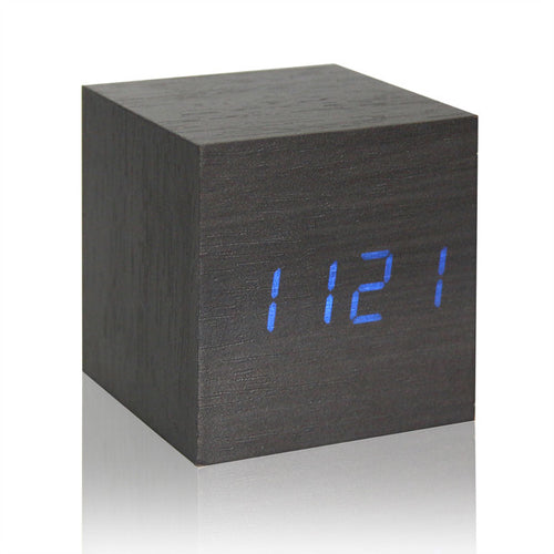 Retro Wooden Digital LED Backlight Voice Control  Glow Luminous Desktop Clock With Alarm & Thermometer