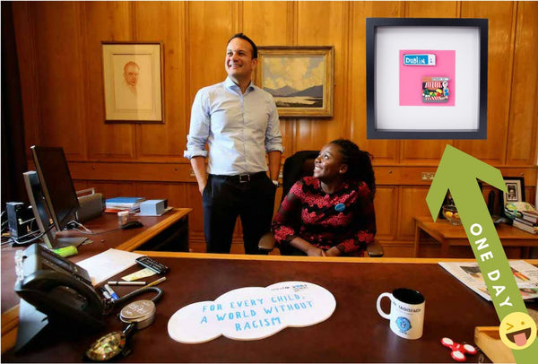 Irish Taoiseach Leo Varadker office photo with quirky Irish Icons