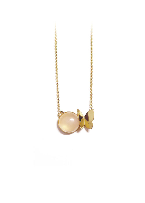 Collier papillon quartz rose - Hirondelle Bijoux