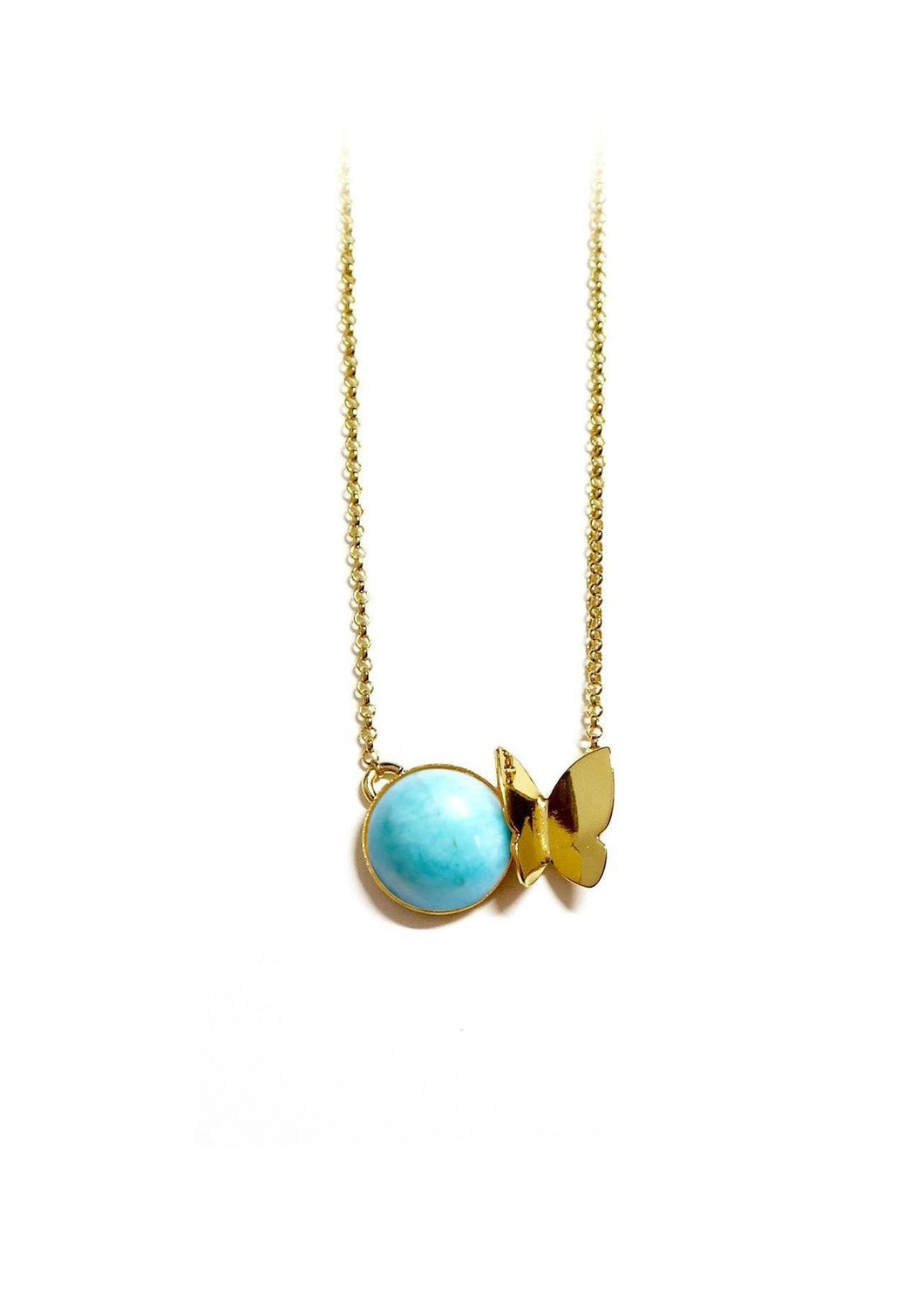 Collier papillon amazonite