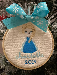 Personalized Elsa Hoop Ornament