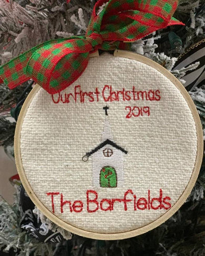 Personalized 'First Christmas' Hoop Ornament