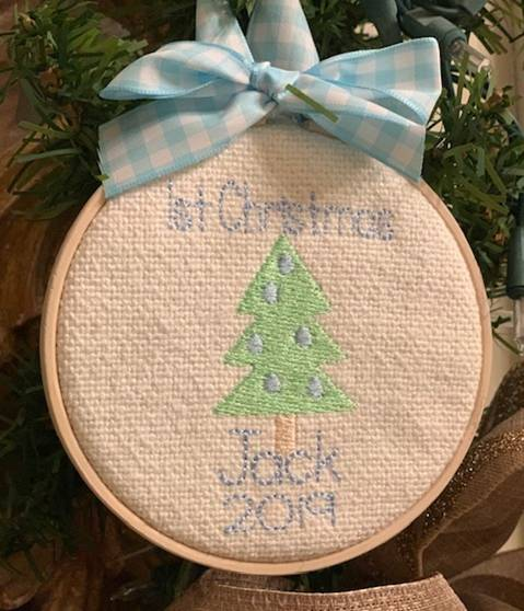 Personalized Baby Boy's 1st Christmas Hoop Ornament