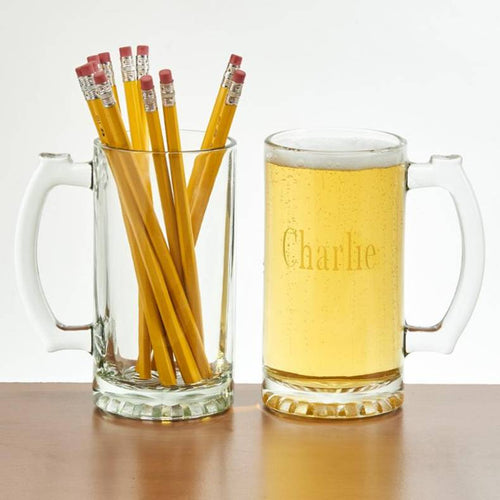 Engraved Glass Tankard 16 oz.