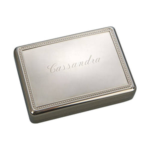 "Silver Plated Beaded Box 5.25"" x 5.25"" Engraved"