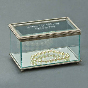 Glass Beaded Box Rectangle with Hinged Cover 5.25""