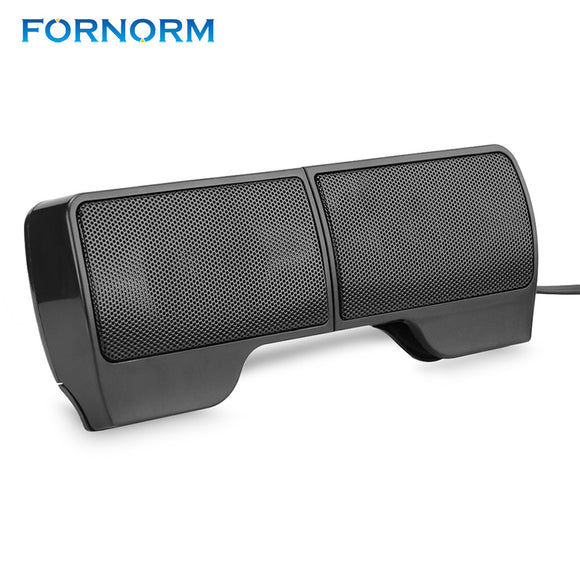 FORNORM Mini Portable Clipon USB Stereo Laptop Soundbar