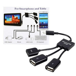 3 in 1 Micro USB HUB Male to Female