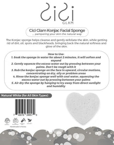 Natural White Heart-Shaped Facial Konjac Sponge