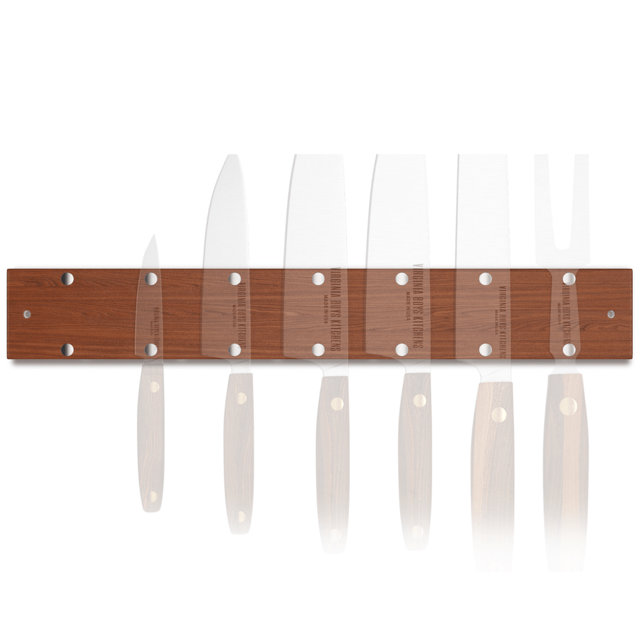 Virginia Boys Kitchens Knife 16 inch 7-Knives Holder - Wall Mounted Walnut Wood Knife Rack