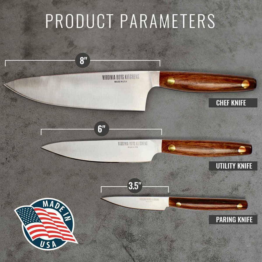 Virginia Boys Kitchens Knife 3 Piece Stainless Steel Chef Knife Set with Walnut Wood Handles