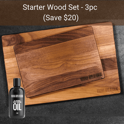 "Virginia Boys Kitchens Save $20 - 3pc - STARTER WOOD SET - Large 20x15"" cutting board + Small 8x12"" cutting board + 8oz Oil"