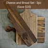 Virginia Boys Kitchens Save $20 - Cheese and Bread Bundle - 3pc - Walnut Wood Cutting and Display Boards ($193 value)