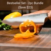 "Virginia Boys Kitchens Save $23 - Bestseller BUNDLE - 2pc - 8"" Chefs Knife and 17x11 Walnut Cutting Board"