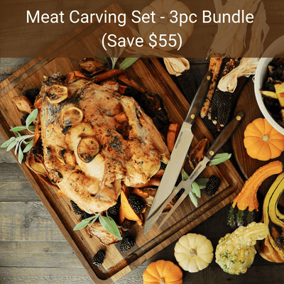 "Virginia Boys Kitchens Save $55 - 3pc Meat Carving Set - Our Largest 18x24x1"" Cutting Board + Carving Fork + Carving Knife"