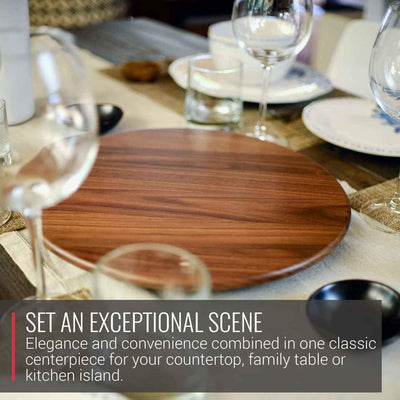 Virginia Boys Kitchens Serving Tray 13.5 Inch Round Walnut Wood Lazy Susan Centerpiece with Smooth 360 Degree Rotation