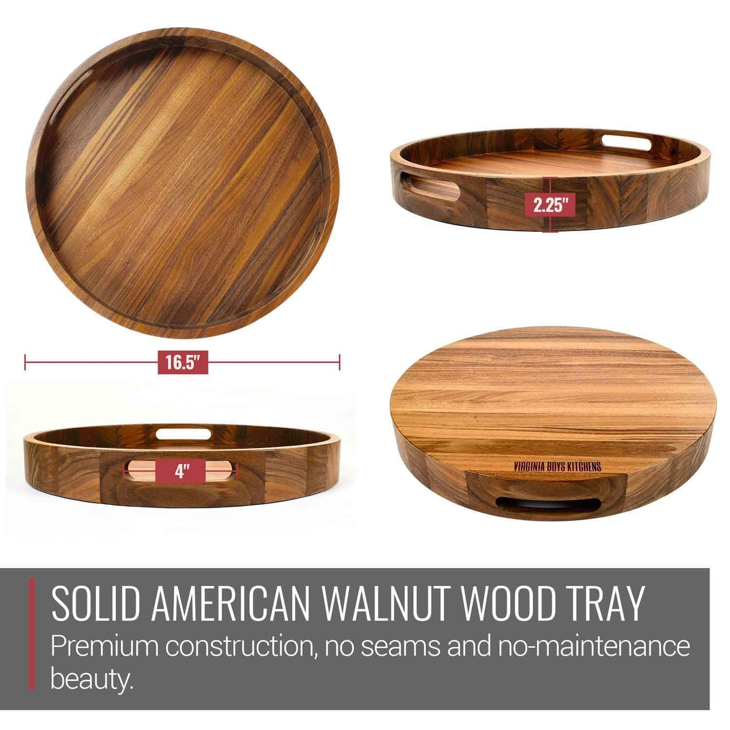 16 5 Inch Round Wooden Serving Tray With Handles Made In Usa Virginia Boys Kitchens