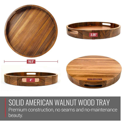 Virginia Boys Kitchens Serving Tray 16.5 Inch Round Walnut Wood Serving and Coffee Table Tray with Handles