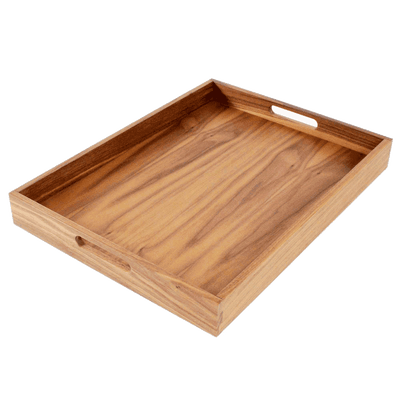 Virginia Boys Kitchens Serving Tray 20 x 15 Inch Rectangular Walnut Wood Serving and Coffee Table Tray with Handles