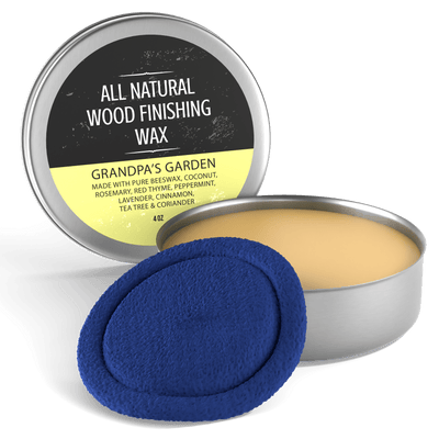 Virginia Boys Kitchens Wood Wax Grandpas Garden - 7 Essential Oils Blend All Natural Coconut Oil and Beeswax Wood Finishing Wax, 4 oz Tin - Grandpas Garden