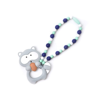 Nummy Beads Gray & Blue Raccoon Baby Carrier Teether Toy