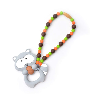 Nummy Beads Gray & Brown Raccoon Baby Carrier Teether Toy