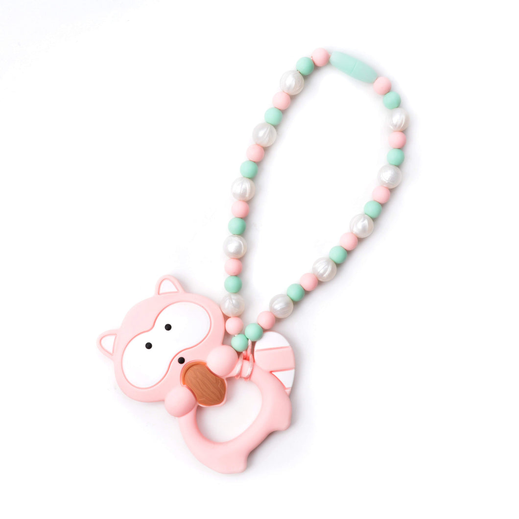 Nummy Beads Pink Raccoon Baby Carrier Teether Toy