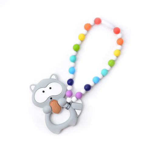 Nummy Beads Rainbow Raccoon Baby Carrier Teether Toy