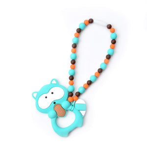 Nummy Beads Turquoise Raccoon Baby Carrier Teether Toy